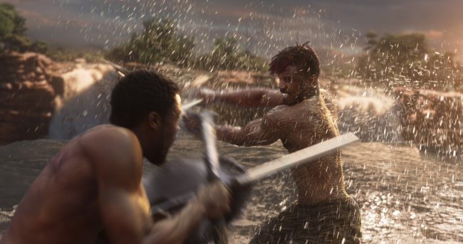 T'Challa and Killmonger fight during Black Panther. This is one concern I have in my parental review.