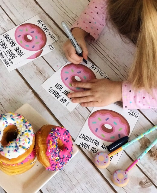 donut printable valentines cards