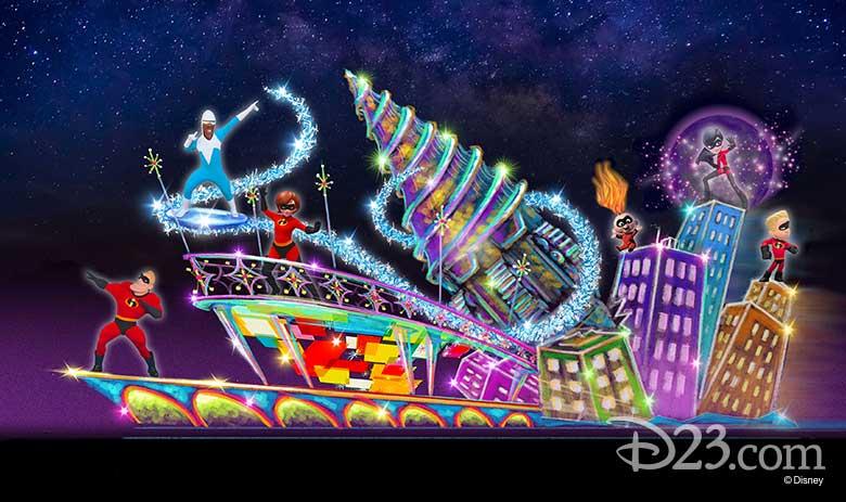pixar incredibles float at Disneyland