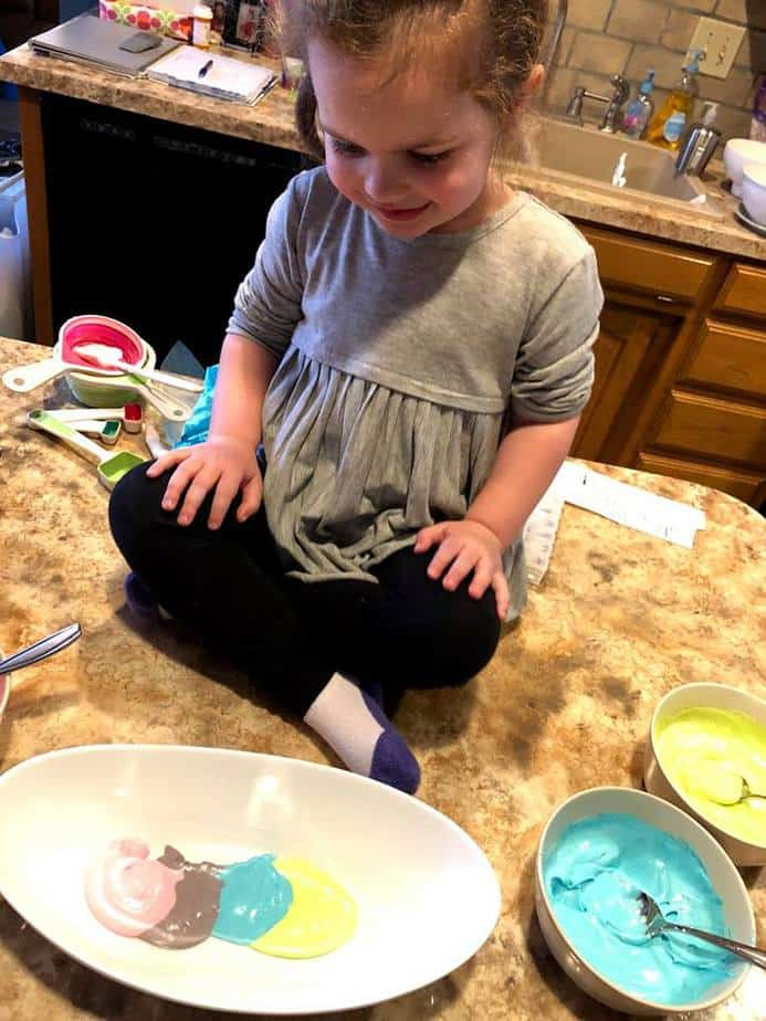 Super easy cooking recipe for kids Unicorn Dip! Your kids in the kitchen will love to help you make this delicious snack. #kidscooking #kidsinkitchen #easykidsrecipes #kidscook #unicorndip