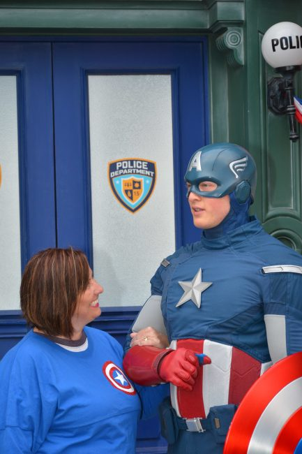 Captain America Meet and Greet Disneyland in custom Disney shirt for family