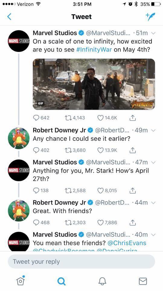 Infinity War Release Date Tweet