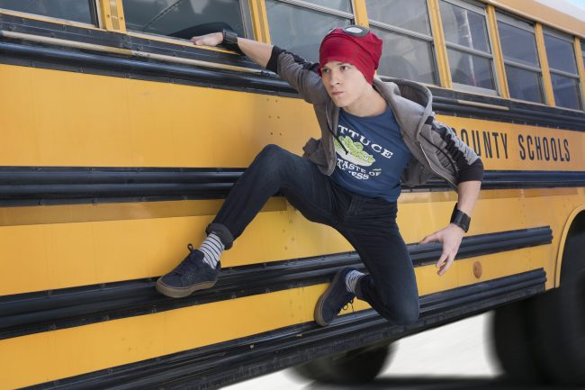 Avengers Infinity War Spider Man on side of school bus