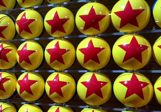 a wall of Pixar balls from the D23 Expo in 2015