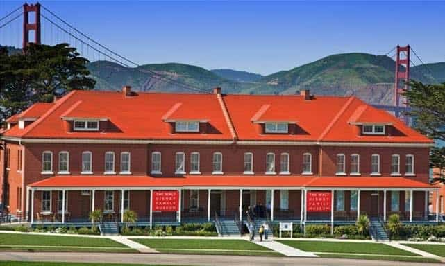 The outside of the walt Disney family museum