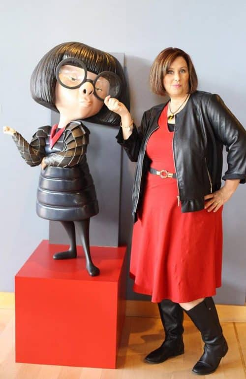 Meet Edna Mode from the Incredibles 2 movie at Disney World during the Incredible Summer Event