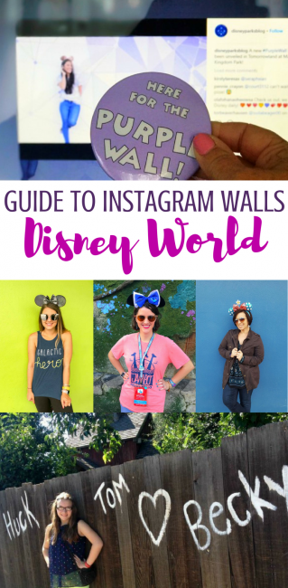 Here's your guide to Instagram Disney World Walls! For your next Disney World vacation photo spots. #DisneyWorld #Disney #photospots #Instagram #Disneywalls #PurpleWall