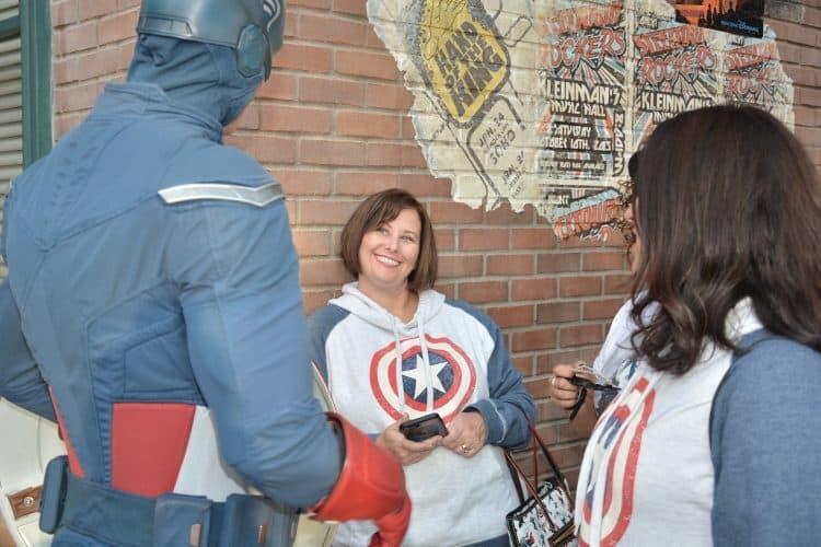 Patty looking at Captain America at Disneyland meet and greet