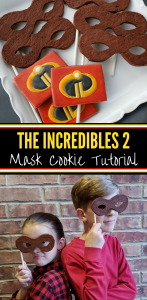 Incredibles 2 mask cookies and logo cookies for an Incredibles themed birthday party! Or a Pixar Incredibles watching party. The superhero mask cookies work for other movies as well. #Incredibles #Incredibles2 #IncrediblesBirthdayParty #cookietutorial #partyideas #kidspartyideas #kidspartyfood #TheIncrediblesPartyIdeas