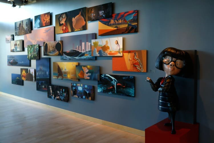 Incredibles 2 Color Script on the walls of the Pixar Studios