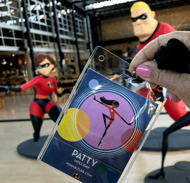 Incredibles 2 press badge inside the Pixar Studios Atrium