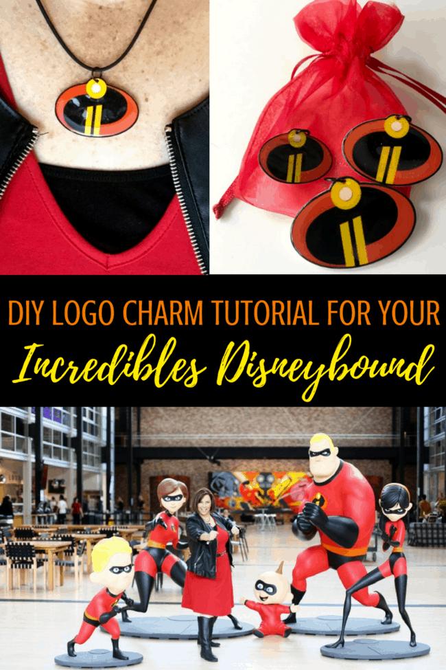 Incredibles Disneybound worn at Pixar Studios. DIY Incredibles logo charm necklace tutorial #Incredibles #Incredibles2 #DIY #IncrediblesNecklace #Incrediblescharms