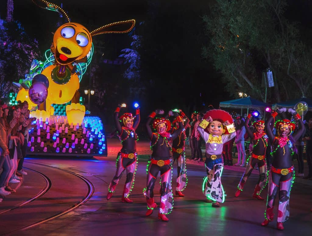 Slinky dog float Paint the Night parade at Pixar Fest Disneyland