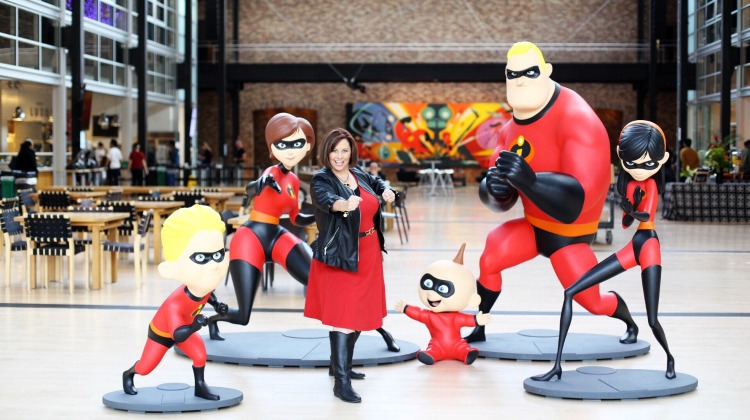 The Incredibles 2 family statues in the atrium of the Steve Jobs Building at Pixar Studios