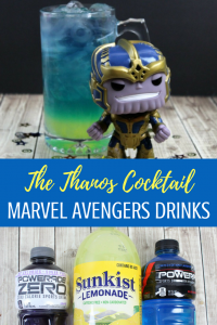 Thanos Avengers Marvel cocktail layered drink. Non-alcoholic, but easy to make this a vodka or chambord cocktail! #mcu #marvelcocktails #avengers #avengersdrinks #marvelavengers #infinityWar