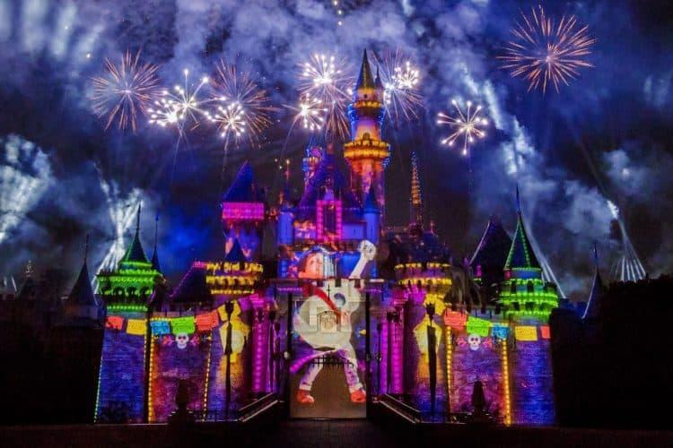 Coco on the castle during Together Forever Fireworks at Pixar Fest at Disneyland