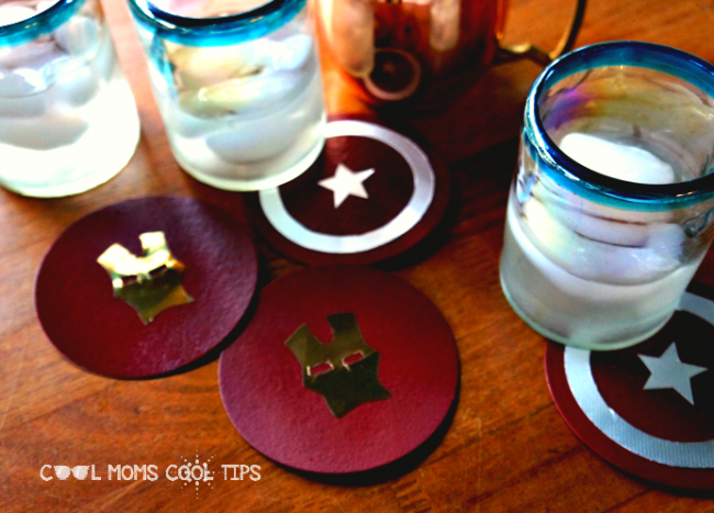 Captain America DIY coasters for avengers party