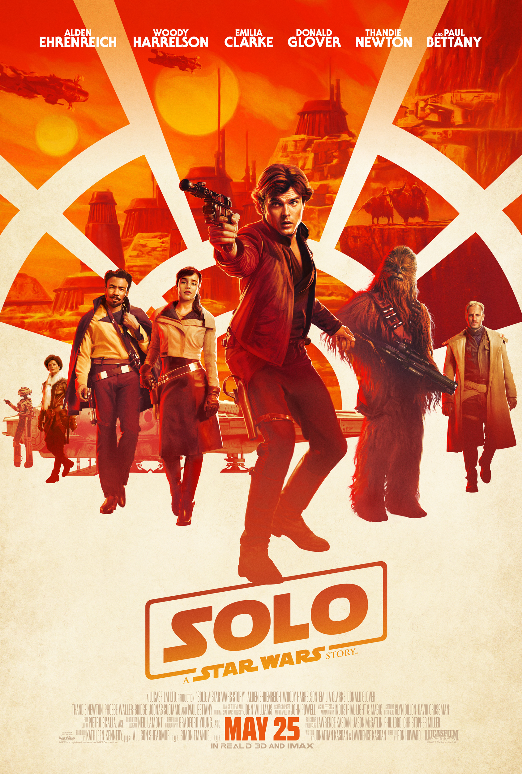 Solo: A Star Wars Story movie poster orange and white with all the characters and a millennium falcon window