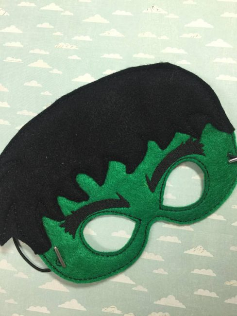 Incredible Hulk Mask made out of black and green felt