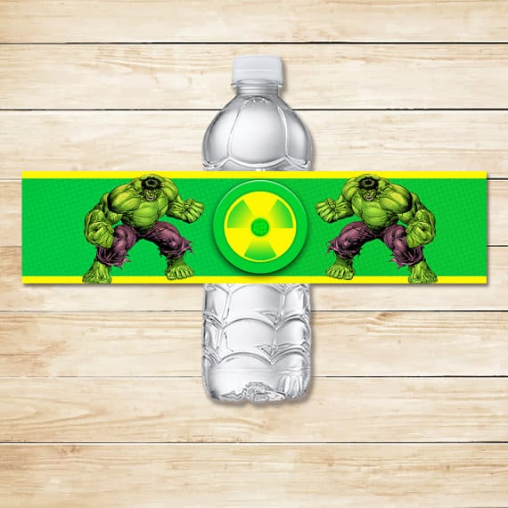 Incredible Hulk Water Bottle Label from Etsy for Birthday Party Ideas