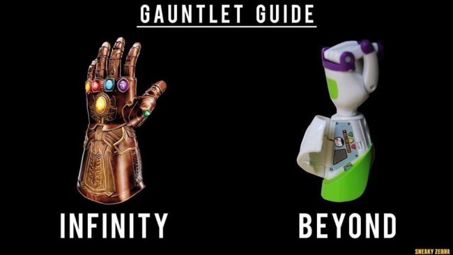 infinity war memes gauntlet guide with Buzz Lightyear