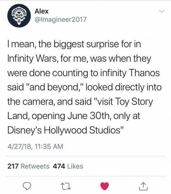 infinity war memes spoiler toy story land