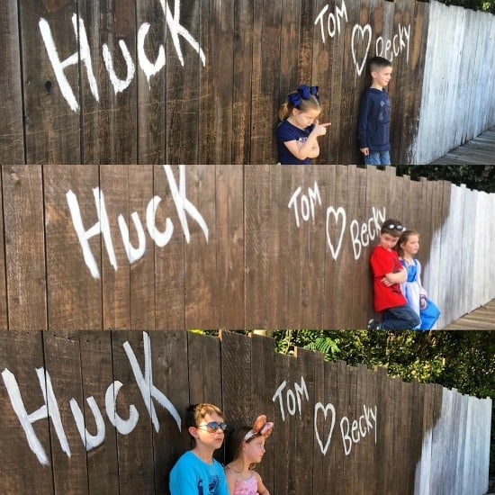 kids Half painted wall pic on tom Sawyer island