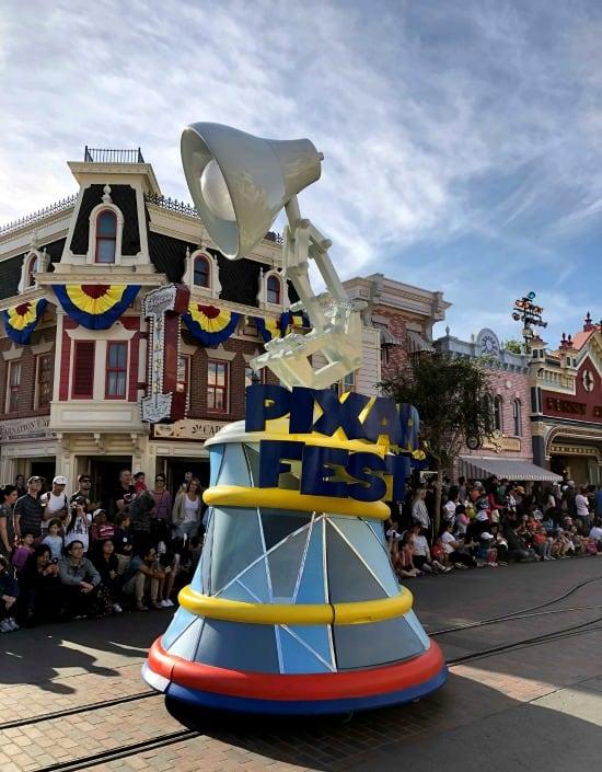 Pixar Play Parade Pixar Lamp float for Pixar Fest at Disneyland