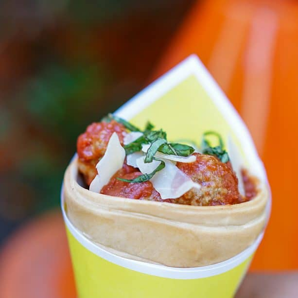 turkey meatballs in a habanero derby sauce with a cheese crisp and spiral pasta ?smoke stacks.? at the Cozy Cone for Pixar FEst