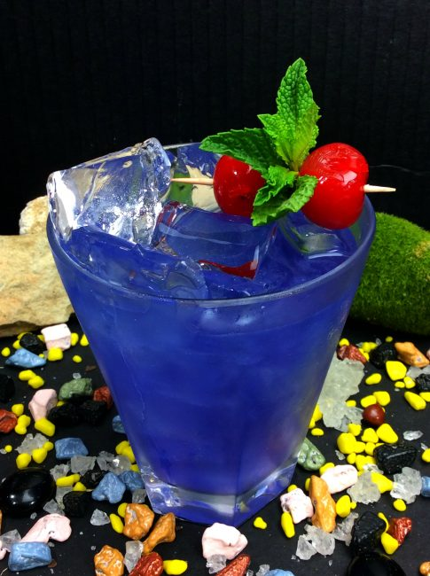 Marvel Avengers Cocktails: the Nebula Chambord cocktail made with vodka, chambord, and rum