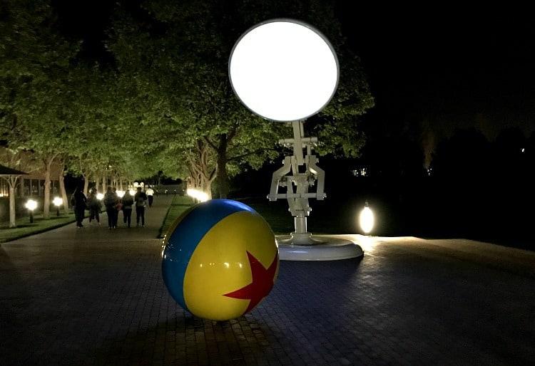 pixar lamp and ball at night