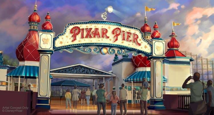 pixar pier at disneyland entrance sign