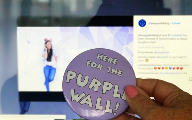 The pin says Here for the Purple Wall picture is of new purple wall with geometric shapes