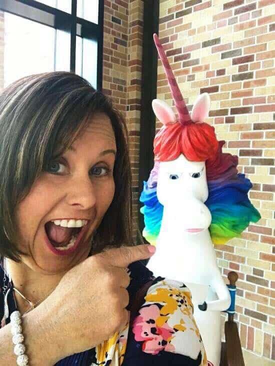 rainbow unicorn inside out in the Pixar Studios Steve Jobs Building atrium