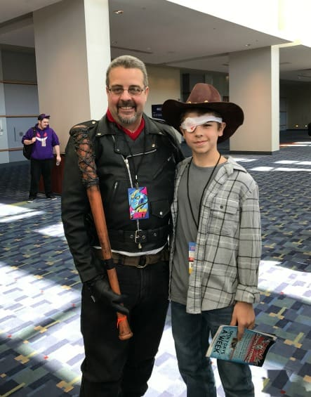 Negan and Carl Cosplay from the Walking Dead at Awesome Con