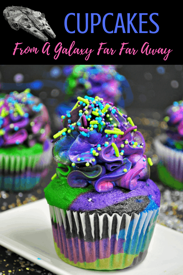 Star Wars Cupcakes: the Galaxy Cupcake. Perfect for any Star Wars party you have in mind! #starwars #cupcakes #recipe #solo #hansolo #partyideas #space