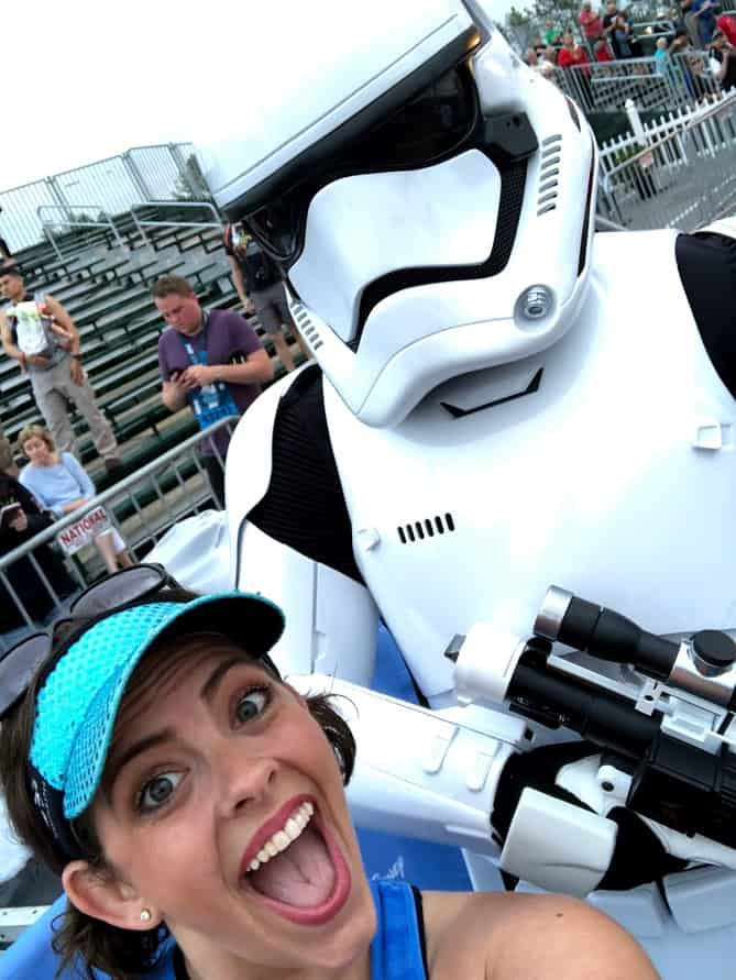 runDisney Star Wars Races runner with Storm Trooper