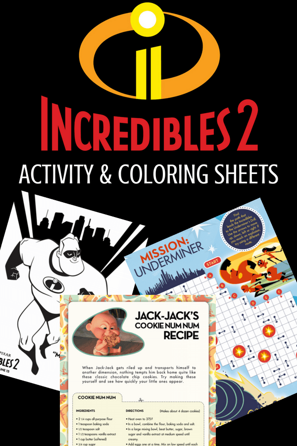 Incredibles 2 PDF Activity & Coloring Sheets for the whole family! Perfect for game night or Incredibles birthday parties. #Incredibles2 #ColoringSheets #KidsActivities #Incredibles #printables #recipes