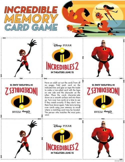 Incredibles 2 Memory Game PDF Activity Sheets