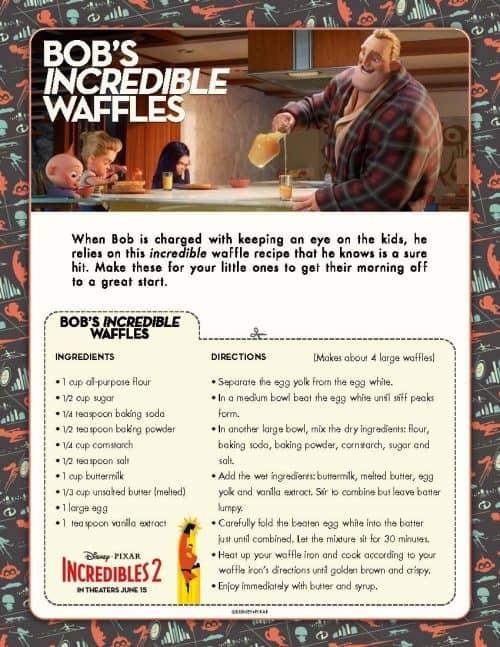 Bob's Incredibles 2 Waffle Recipe Printable PDF