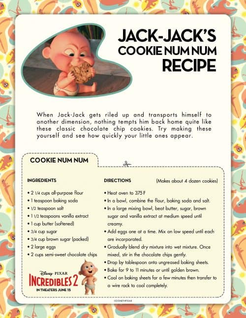 Incredibles 2 Jack Jack Num Num Cookies recipe Incredibles 2 PDF Activities