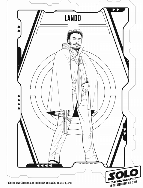 Solo: A Star Wars Story Lando coloring sheet for May the Fourth Be With you