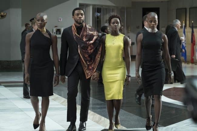 Marvel Studios' BLACK PANTHER..L to R: Okoye (Danai Gurira), T'Challa/Black Panther (Chadwick Boseman), Nakia (Lupita Nyong'o) and Ayo (Florence Kasumba)