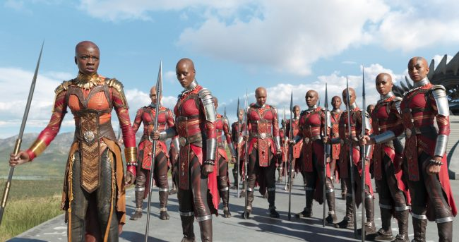 Marvel Studios' BLACK PANTHER L to R: Okoye (Danai Gurira) and Ayo (Florence Kasumba) with the Dora Milaje