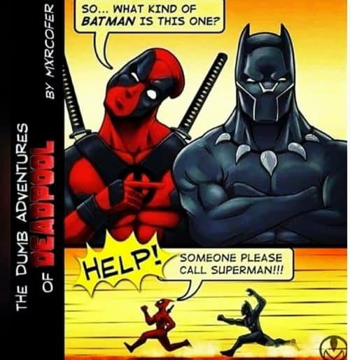 Typical trolling by Deadpool: asking what kind of Batman Black Panther is in this Deadpool meme