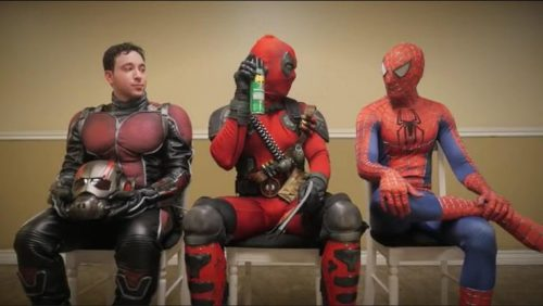 Antman, Deadpool and Spiderman with a can of raid. Deadpool meme on point!