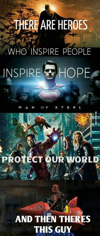 Batman, Superman, Avengers, and Deadpool meme