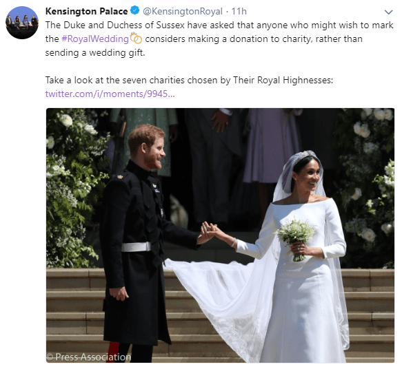 Harry and Meghan holding hands after the wedding image from twitter