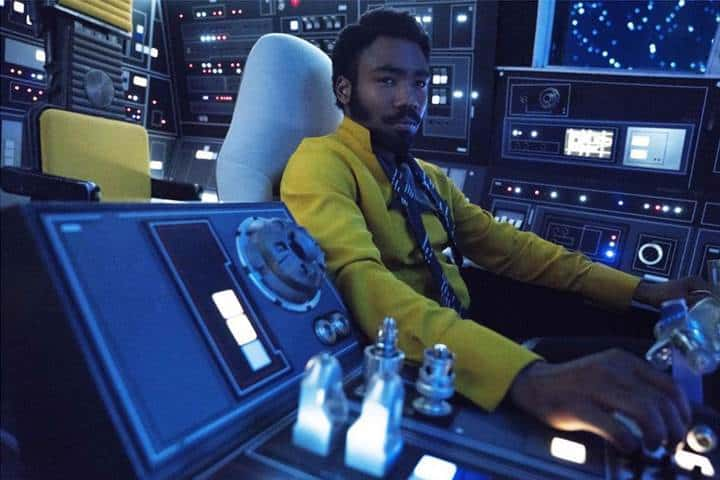 Donald Glover as lando in the falcon in Solo: A Star Wars Story
