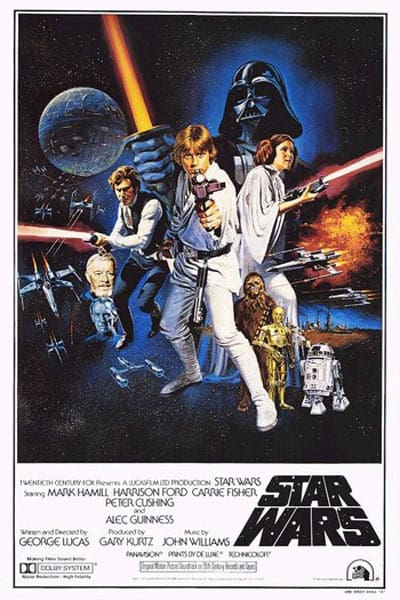 Star Wars new hope movie poster- first movie in the star wars movie order of release list